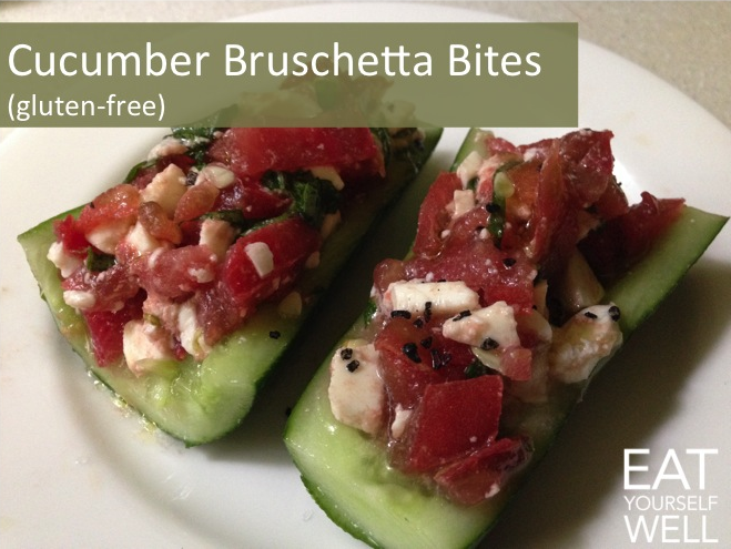 Cucumber Bruschetta Bites - Eat Yourself Well