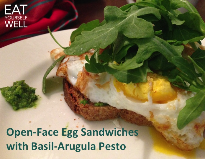 Open Faced Egg Sandwich with Arugula Pesto - Eat Yourself Well
