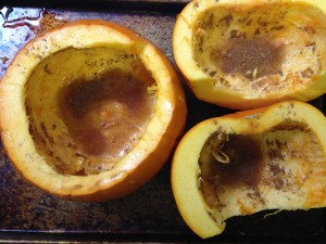 Pumpkin pieces ready to roast