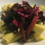 Sweet, Spicy, Savory Rainbow Chard Pasta