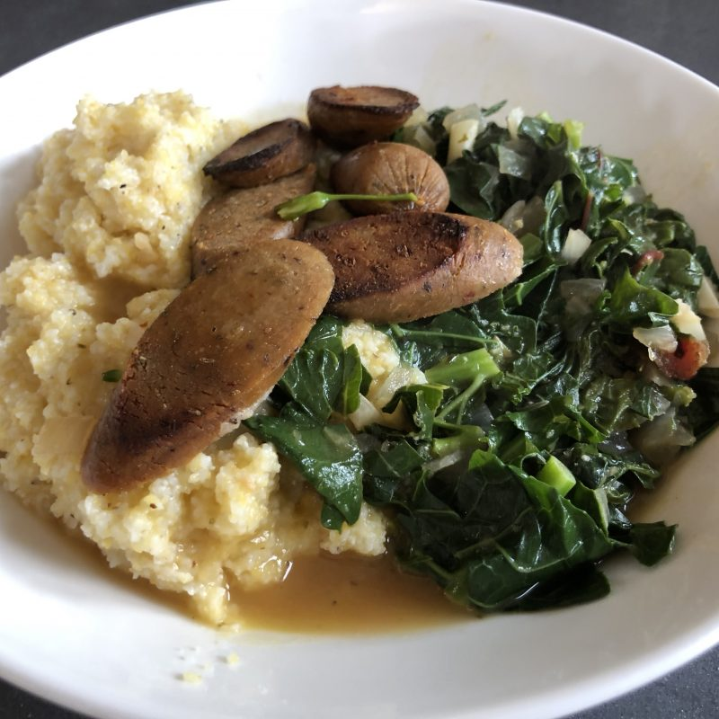 Quick Comfort Food:  Grits and Greens (Plant Based!)